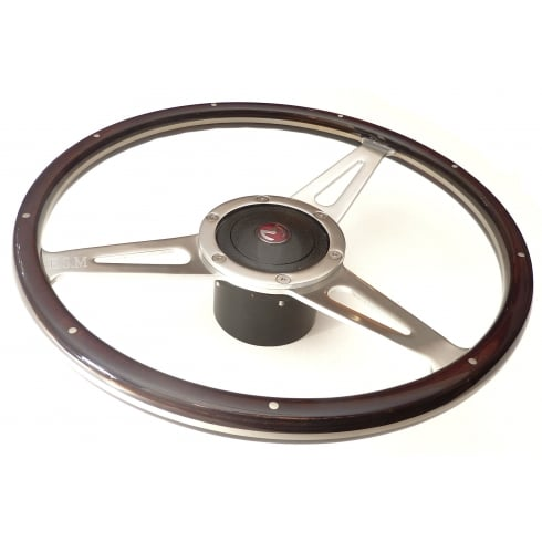"15"" Wood Rim Steering Wheel (NOT MM & Series II) Dark Brown Rim c/w Black Mounting Boss & Horn Push with Enamel ""M"" Badge"