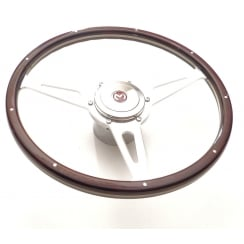"15"" Wood Rim Steering Wheel (NOT MM & Series II) Dark Brown Rim c/w Chrome Mounting Boss & Horn Push with Enamel ""M"" Badge"