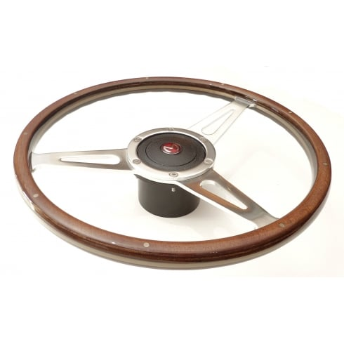 "15"" Wood Rim Steering Wheel (NOT MM & Series II) Light Brown Rim c/w Black Mounting Boss & Horn Push with Enamel ""M"" Badge"