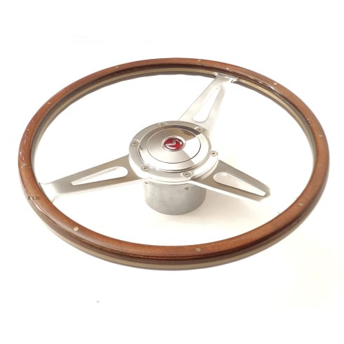 "15"" Wood Rim Steering Wheel (NOT MM & Series II) Light Brown Rim c/w Chrome Mounting Boss & Horn Push with Enamel ""M"" Badge"