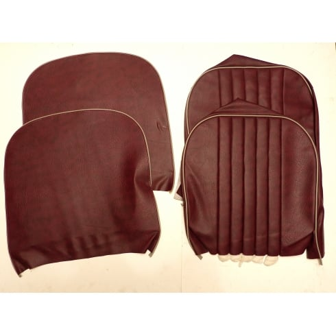 1954-56 Series II Front Seat Covers - Early (with tacks) 2 x Base & 2 x Squab Vinyl - MAROON / Grey Piping *B GRADE*