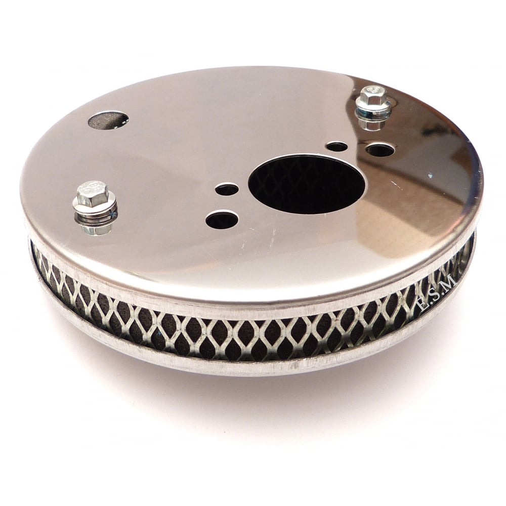 Air Filter-Chrome-Pancake Type (Cleanable) Fits Direct to Carburettor (no  fitting kit required)