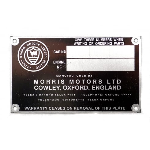 Chassis Identification Plate (April 1952 to 1958)