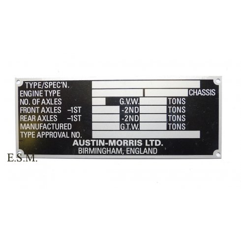 Chassis Identification Plate (Van & Pick-Up) Fits To Door Panel