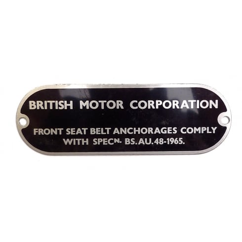 Chassis Plate-BMC Seat Belts Anchorage Specification