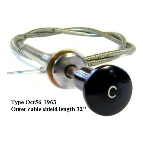 "Choke Cable Original Type, fits 1956-1963 LATE MODELS (Twist lock, Black knob with ""C"")"