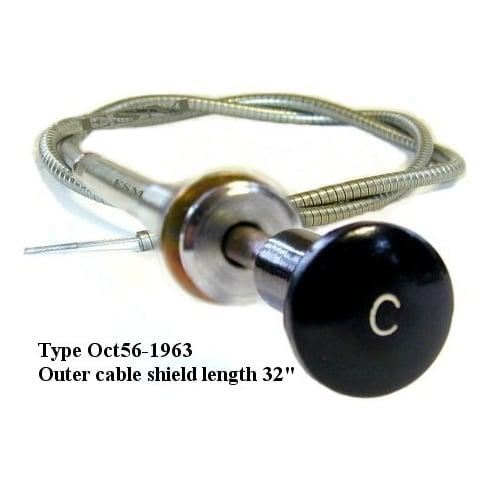 "Choke Cable Original Type, fits 1956-1963 LATE MODELS (Twist lock, Black knob with ""C"")"