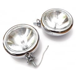 "Chrome 5"" Driving Light 55w Halogen (Pair) Base Mounting"