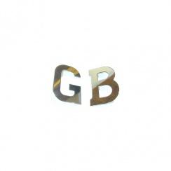 "Chromed Metal ""G.B."" Badge / Letters (Pair) SELF ADHESIVE BACKING"