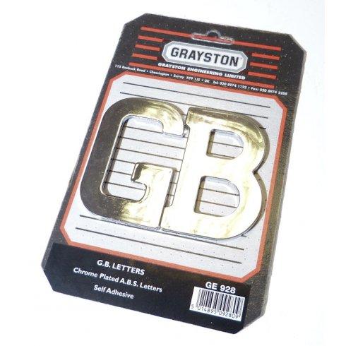 "Chromed Plastic ""G.B."" Badge / Letters (Pair) SELF ADHESIVE BACKING"