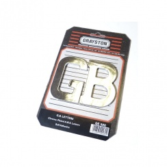 "Chromed Plastic ""G.B."" Badge / Letters (Pair) SELF ADHESIVE BACKING"