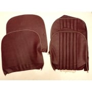 PAIR 1954-56 Series II Front Seat Squab Covers - Early - With Tacks Type - Vinyl - MAROON / Grey Piping *B GRADE*