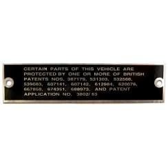 Patents Plate (Bulkhead Fitting)