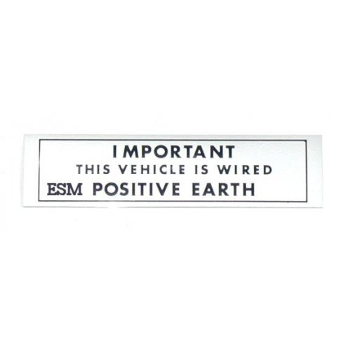 """POSITIVE EARTH"" Warning Sticker"