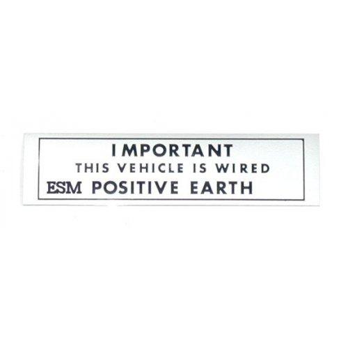 """POSITIVE EARTH"" Warning Sticker"