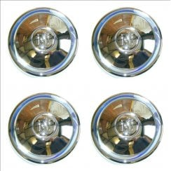 "SET of 4 CHROME Hubcaps (""M"") 1954-1971 (8.3/4"" Diameter)"