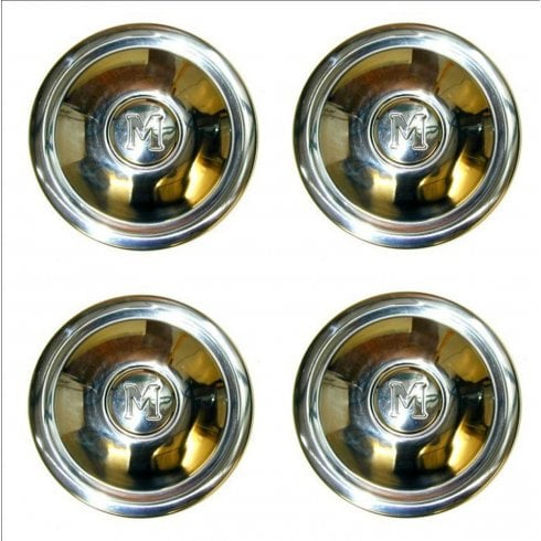 """SET of 4 Stainless Hubcaps (""""M"""") 1954-1971 (8.3/4"""" Diameter)"""