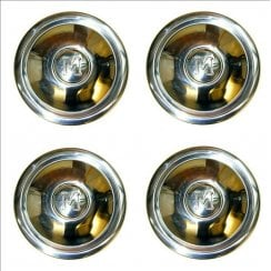 "SET of 4 Stainless Hubcaps (""M"") 1954-1971 (8.3/4"" Diameter)"