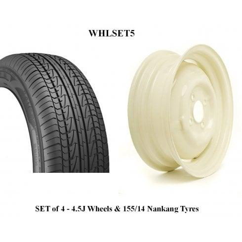 SET OF 4 Wheels & Tyres - Wide 4.5J with 155/14 Nankang Radial Tyre