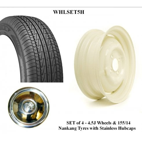 SET OF 4 Wheels & Tyres - Wide 4.5J with 155/14 Nankang Radial Tyre WITH STAINLESS HUBCAPS