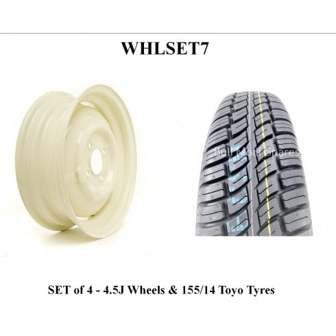 SET OF 4 Wheels & Tyres - Wide 4.5J with 155/14 Toyo Radial Tyre