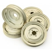 "SET OF 5 Road Wheels - Standard Minor 1000 3J x 14"" (New) Old English White"